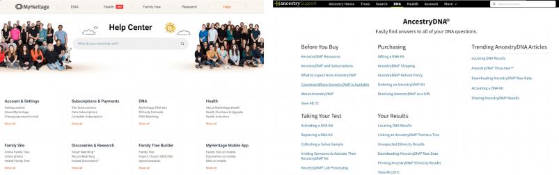MyHeritage vs AncestryDNA - customer support FAQ