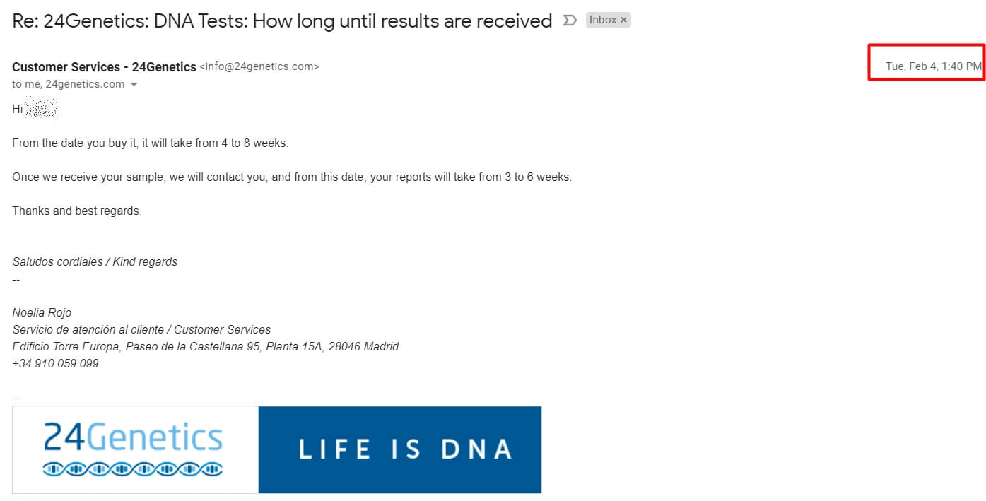 24genetics answer from customer support