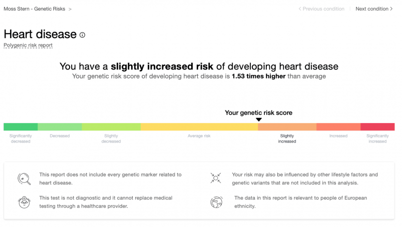 MyHeritage health test results