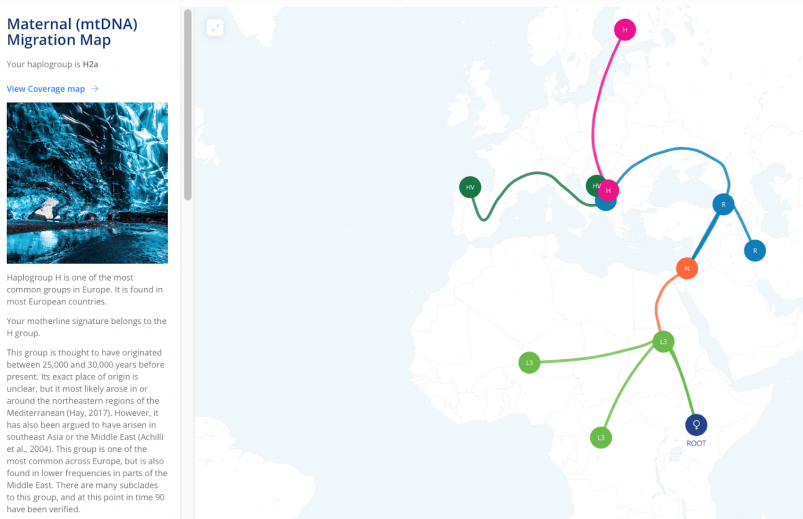 Living DNA Maternal (mtDNA) Migration Map