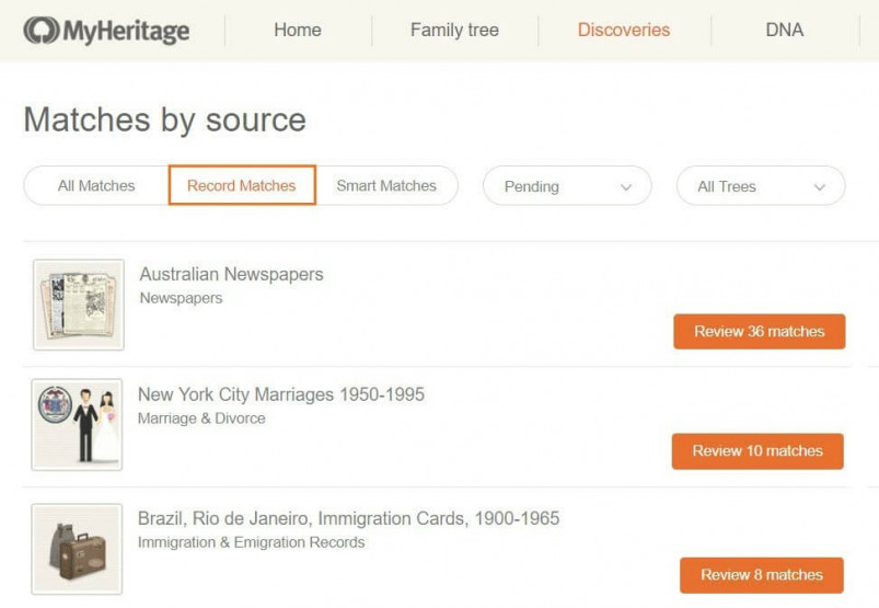 Record Matching on MyHeritage's Family Tree Builder
