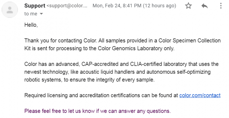 Color Genetic Testing Customer Support Response