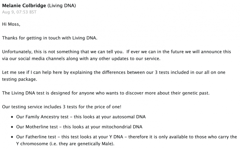 Living DNA Customer Support Response