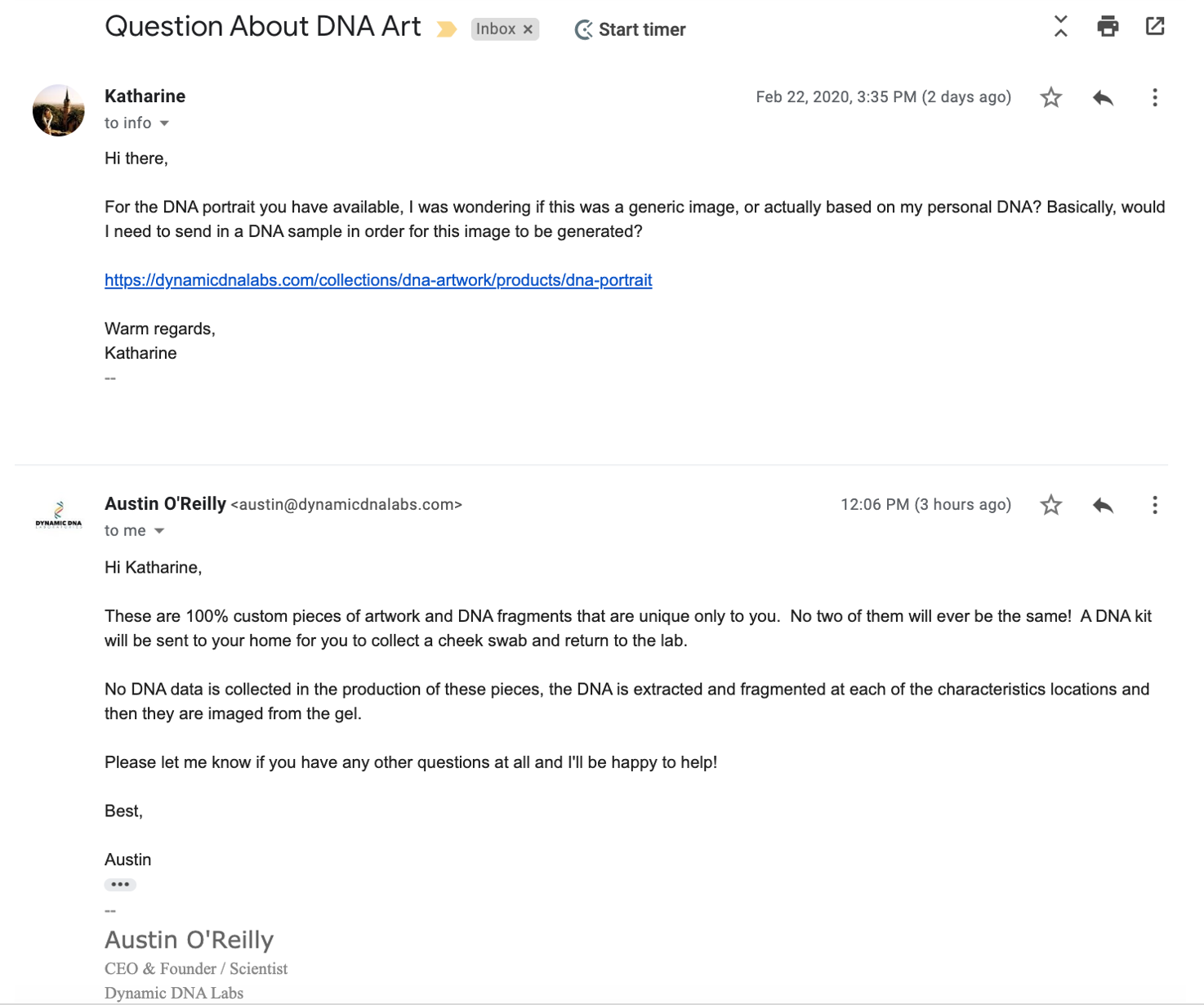 Dynamic DNA Labs Customer Service Response from the CEO