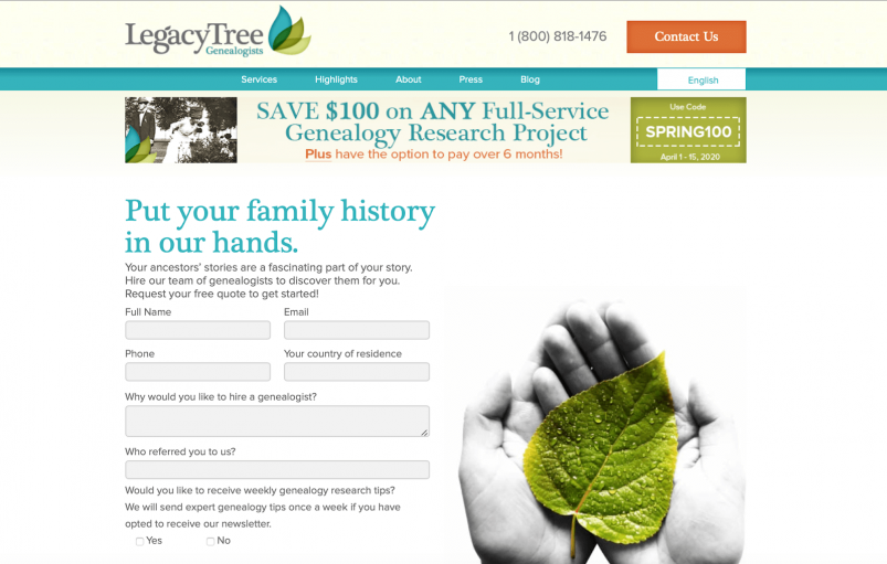 Legacy Tree website - home page and contact form