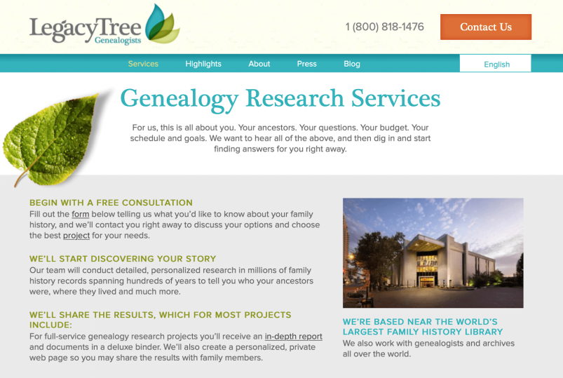 Legacy Tree website - Services page