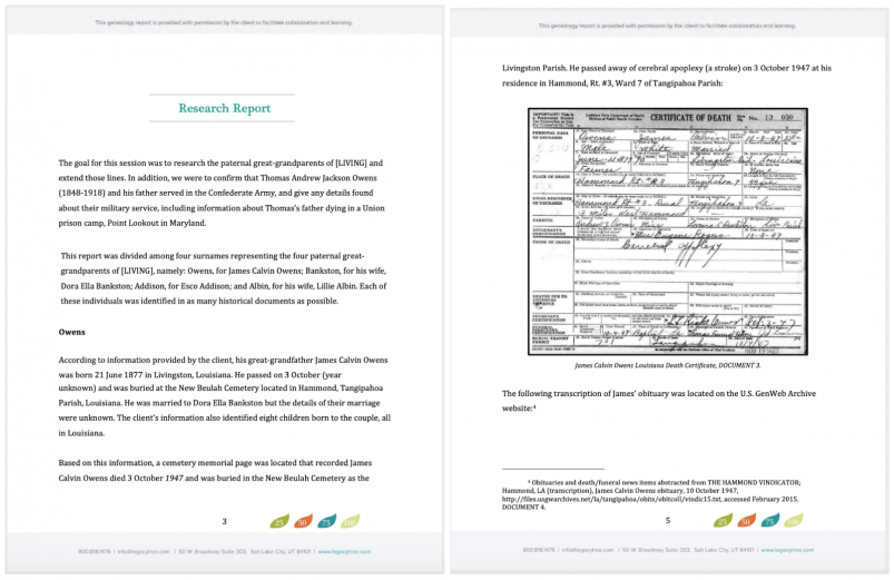 Sample Pages from a Legacy Tree Genealogists' Research Report