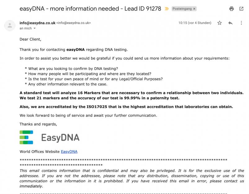 EasyDNA Customer Support Response