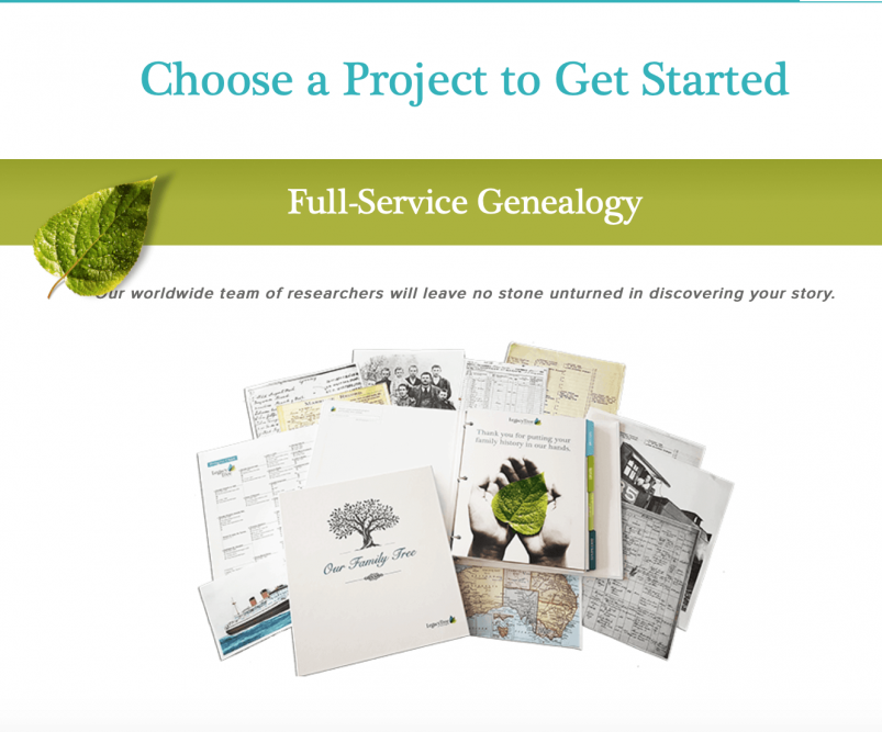 Legacy Tree website - pricing page
