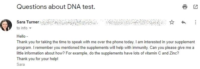 caligenix customer email support response