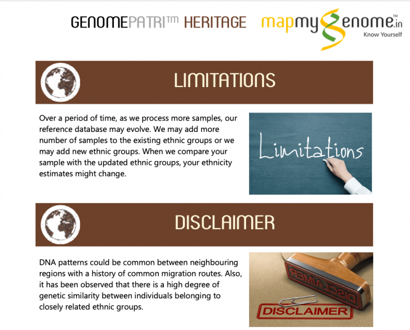 Mapmygenome's Genomepatri Heritage Limitations and Disclaimer