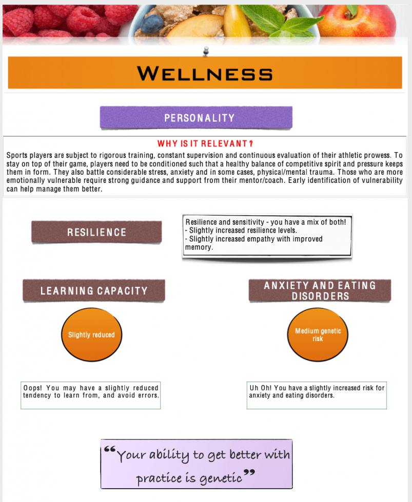 Mapmygenome's MyFitGene Report's Personality Section