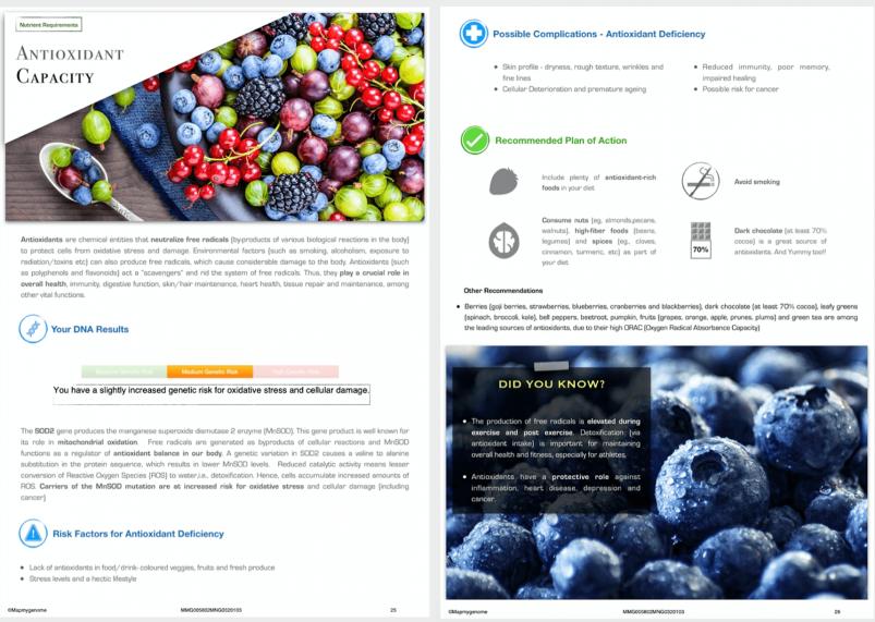 Mapmygenome's MyNutriGene Report's Antioxidant Capacity Section