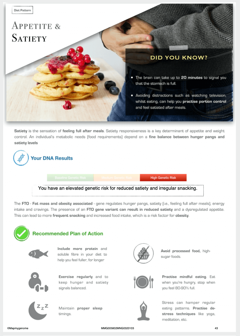 Mapmygenome's MyNutriGene Report's Appetite and Satiety Section