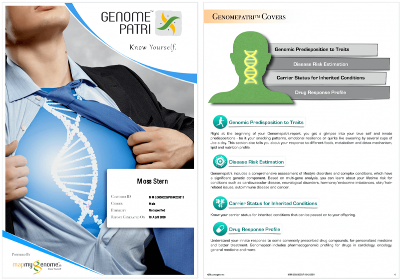 Mapmygenome's Genomepatri Report Cover and Overview of What the Report Covers