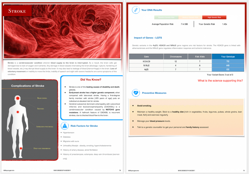 Mapmygenome's Genomepatri Report Pages on My Risk of Stroke