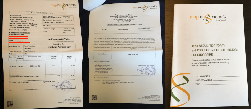 Samples of Mapmygenome's extensive paperwork that must be mailed in with your DNA sample