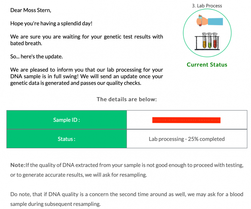 Update from Mapmygenome letting me know that my sample was in the process of being analyzed