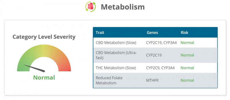 Strain Genie's cannabis health report includes analysis of my CBD and THC metabolism levels