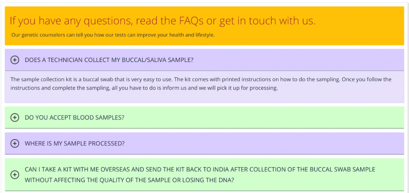 Mapmygenome's Limited FAQ Page