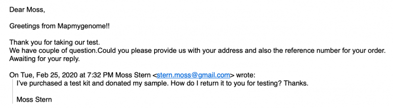 Mapmygenome's Inquiry Response Email