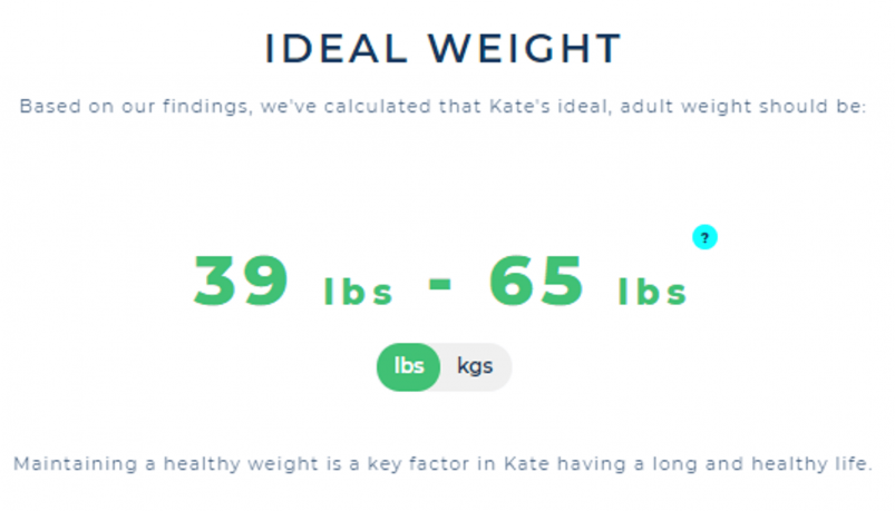 Example of ideal weight results from the Wisdom Panel DNA test