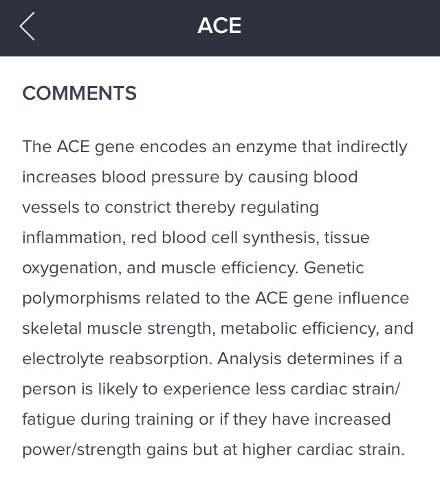 "Orig3n app ACE gene report - ""Comments"" section"