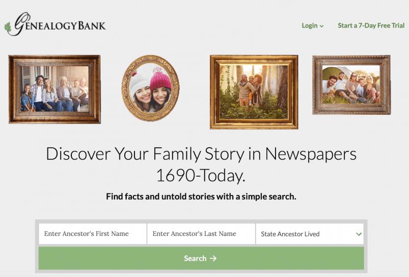 GenealogyBank home page