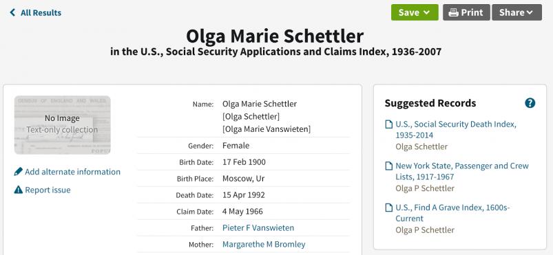 My grandmother's social security claim (via Ancestry.com)