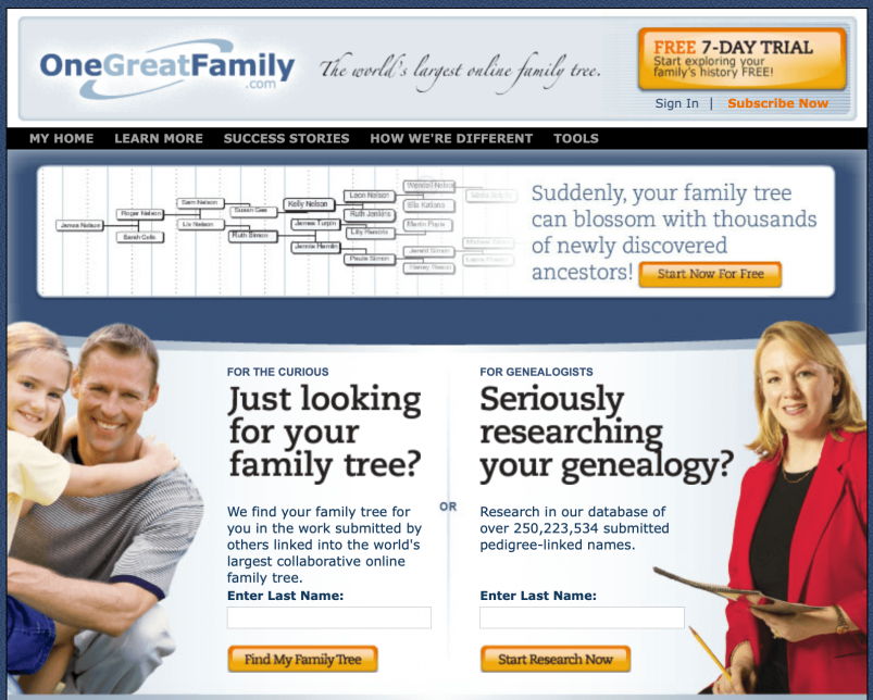 OneGreatFamily home page