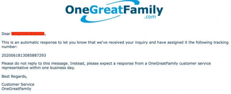 OneGreatFamily inquiry acknowledgement email