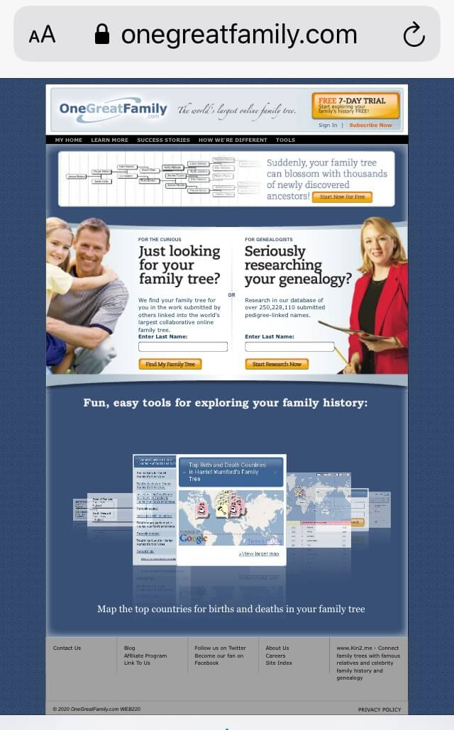OneGreatFamily viewed on an iPhone