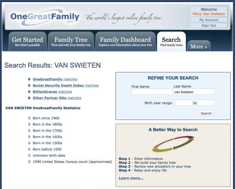OneGreatFamily - zero van Swietens found in database