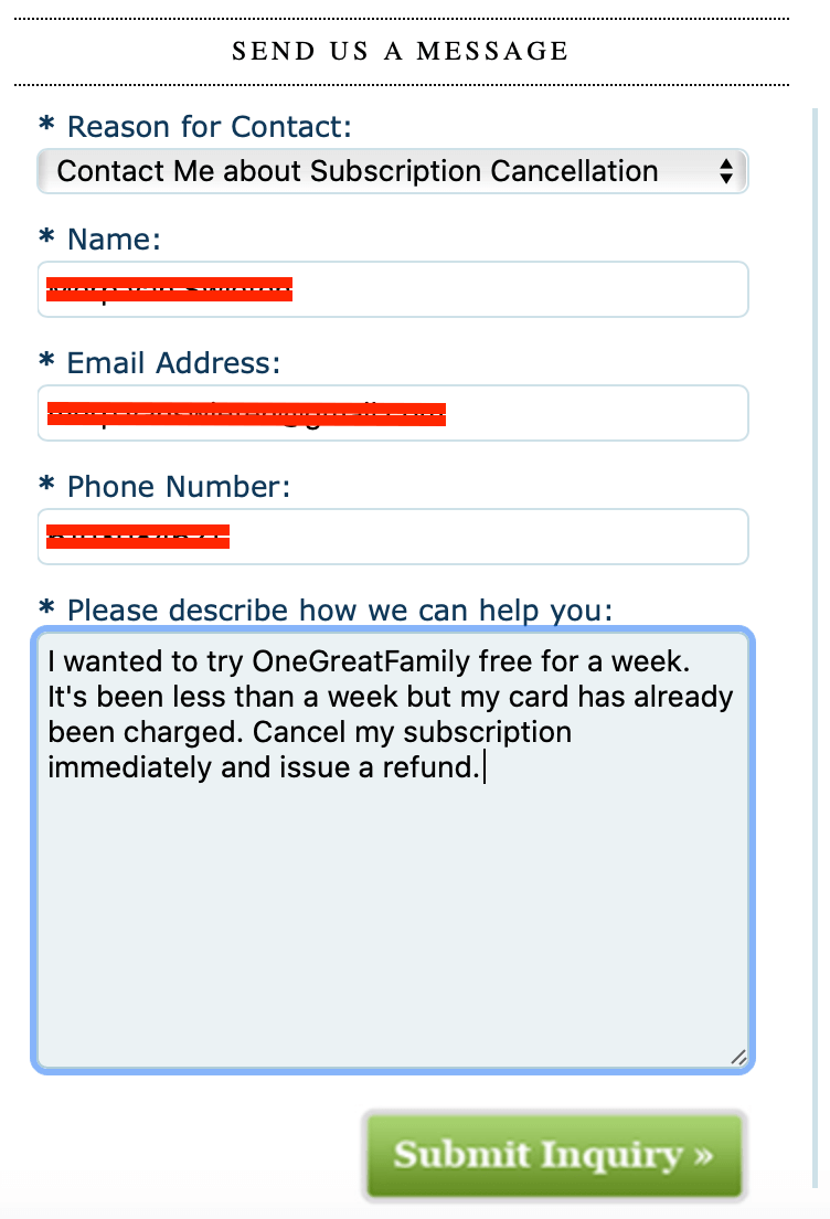 OneGreatFamily cancellation request