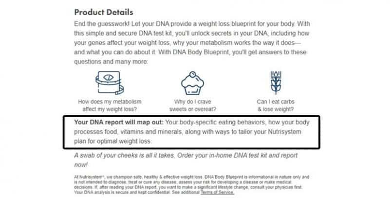 Nutrisystem's DNA Body Blueprint Kit - Product Details