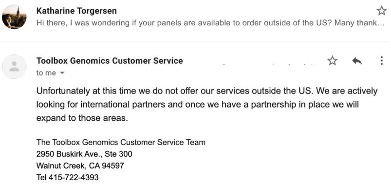ToolBox Genomics email response