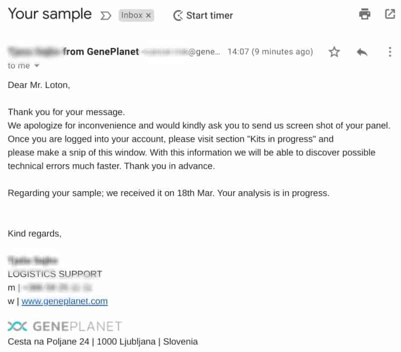 GenePlanet's email response using online form