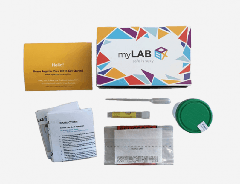 MyLab Box at home STD test with swab, urine, and blood collection methods.