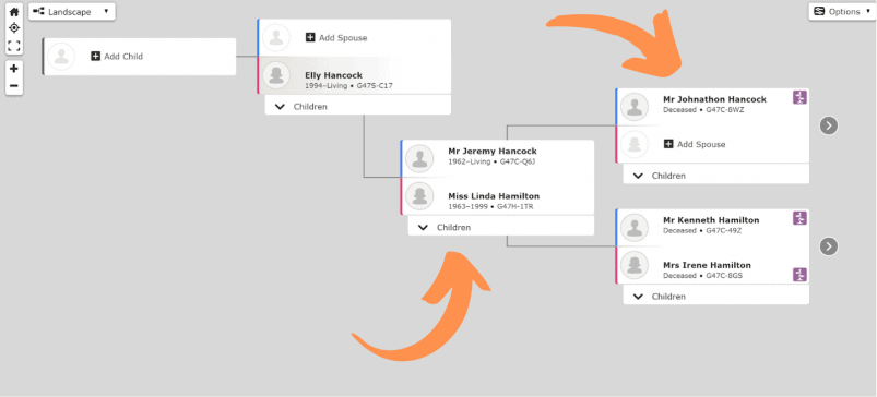 FamilySearch's family tree builder.