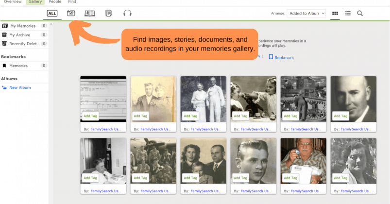 Create and upload memories to your FamilySearch account.