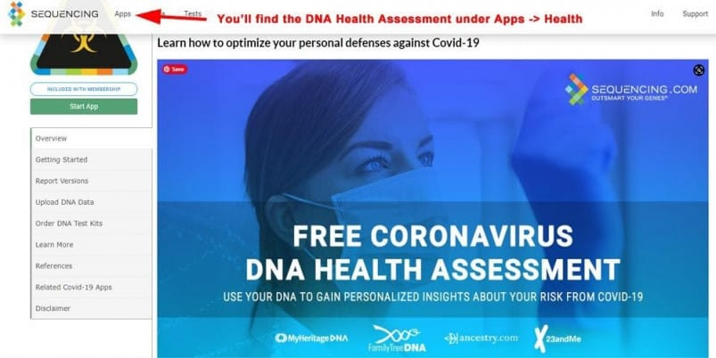 Sequencing.com - Free Coronavirus DNA Health Assessment Report