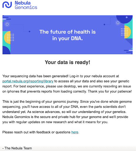 Your data is ready email