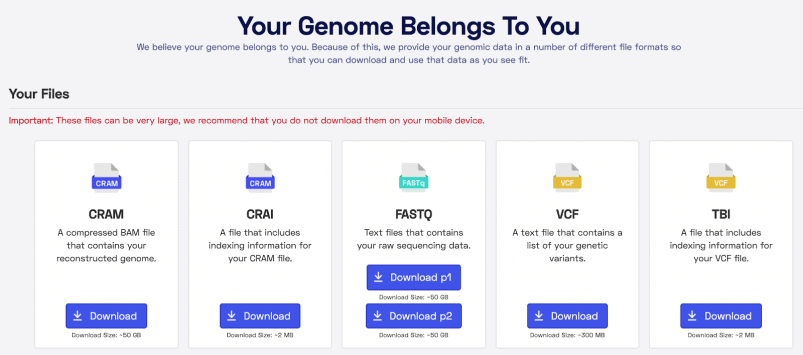 Options for downloading your data from Nebula Genomics