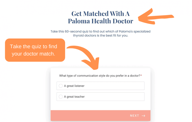 Paloma Health online doctor matching quiz.