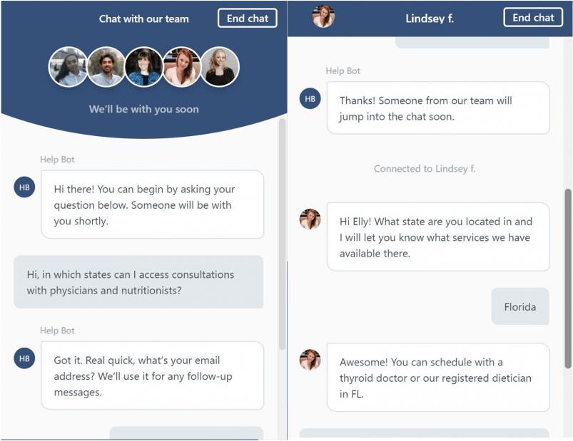 Paloma Health live chat service.