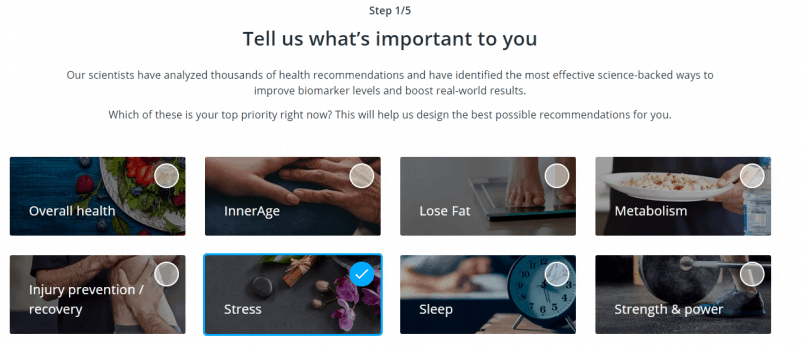 InsideTracker lifestyle review questionnaire