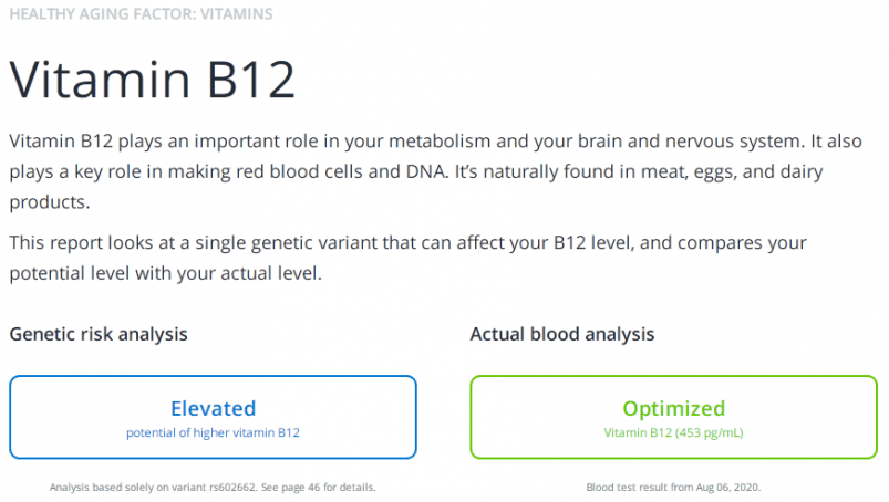 InsideTracker DNA test result example