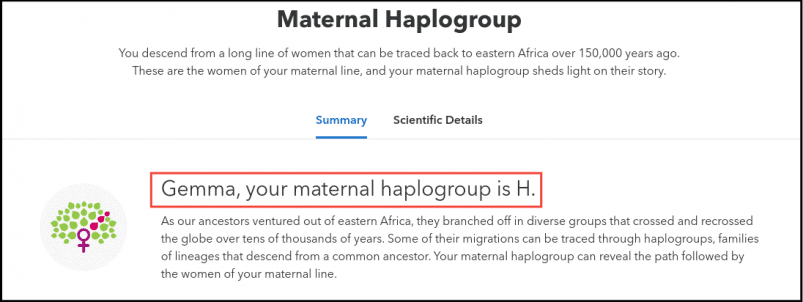 23andMe Maternal Haplogroup Report