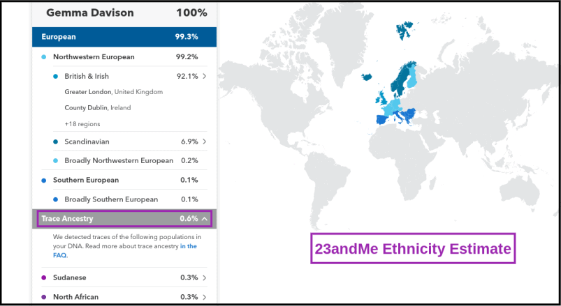 23andMe Ethnicity Estimate with Trace Ancestry