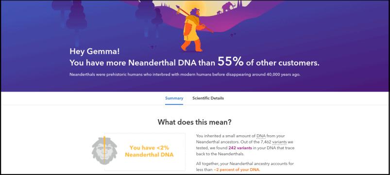 23andMe Neanderthal DNA Report